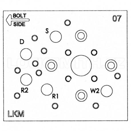 Electronic Lock Template, S&G 6120, Amsec KPL2000